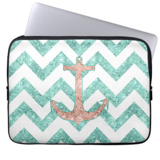 Coral Glitter Nautical Anchor Teal Chevron Zigzags Laptop Sleeve