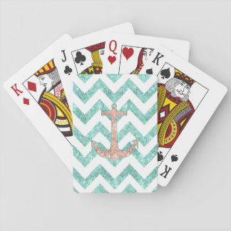 Coral Glitter Nautical Anchor Teal Chevron Zigzags Playing Cards