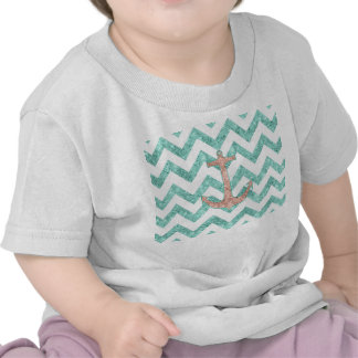 Coral Glitter Nautical Anchor Teal Chevron Zigzags T-shirts