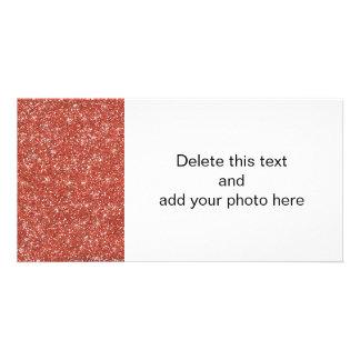 Coral Glitter Printed Custom Photo Card