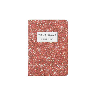 Coral Glitter Printed Passport Holder