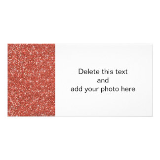 Coral Glitter Printed Photo Card