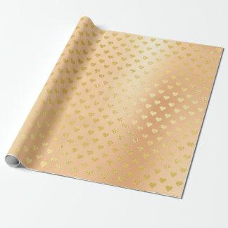 Coral Gold Metallic  Hearts  Elegant Confetti Wrapping Paper