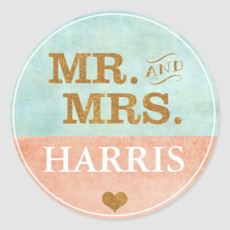 Coral Gold Mint Wedding Sticker
