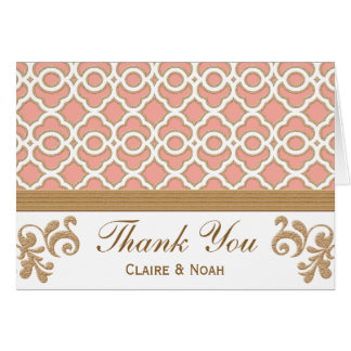 Coral Gold Moroccan Thank You Wedding Card