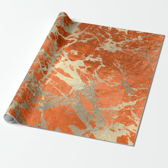 Coral Gold Salmon Marble Shiny Metallic Grungy VIP
