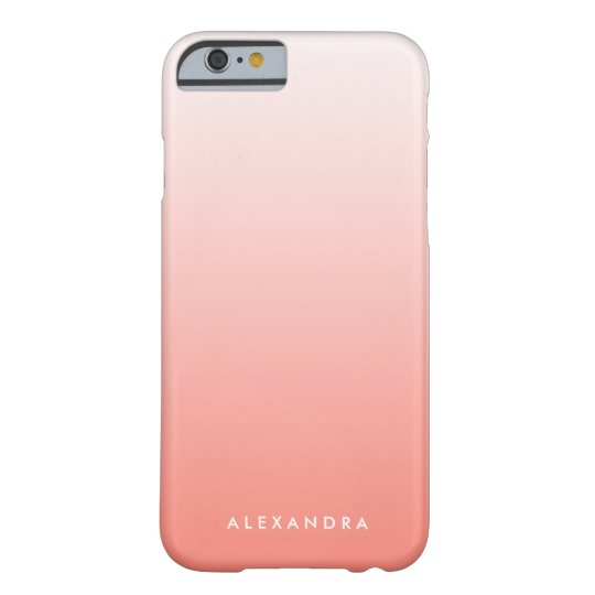 Coral Gradient Ombre Personalised Barely There iPhone 6