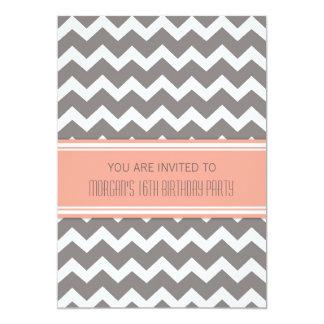 Coral Gray Chevron 16th Birthday Party Invitations