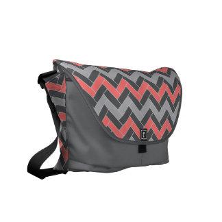 Coral Gray Herringbone Commuter Bag