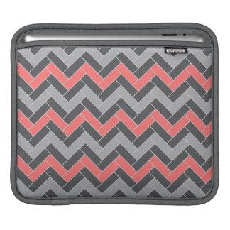 Coral Gray Herringbone iPad Sleeve