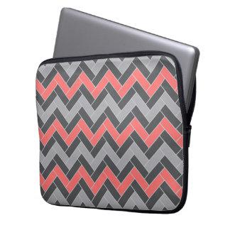 Coral Gray Herringbone Laptop Computer Sleeves