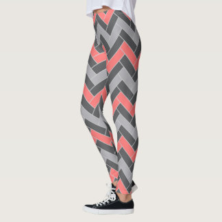 Coral Gray Herringbone Leggings