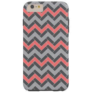 Coral Gray Herringbone Tough iPhone 6 Plus Case