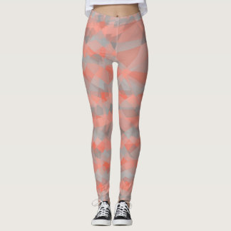 Coral Gray Modern Geometric Pattern Leggings