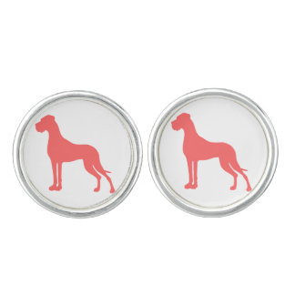 Coral Great Dane Cufflinks