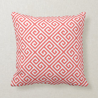 Coral Greek Key Pattern Cushion