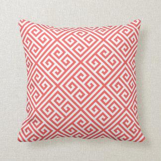 Coral Greek Key Pattern Throw Pillow