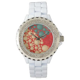 Coral Green and Creame Circle Pattern Abstract Watch