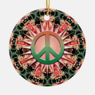 Coral Green Flower Circle Keepsake Peace Ornament