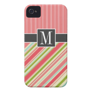 Coral & Green Stripes iPhone 4 Case-Mate Cases