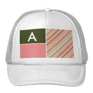 Coral Green Stripes Striped Mesh Hats