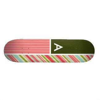 Coral & Green Stripes; Striped Skate Board Deck