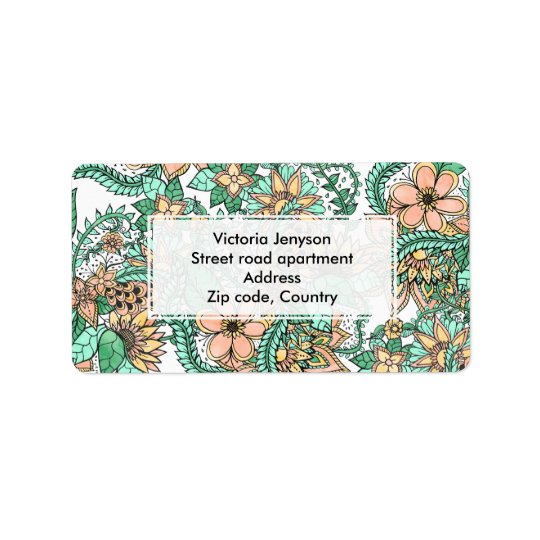 Coral green watercolor hand drawn floral pattern address label