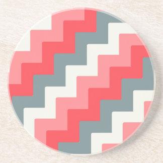 Coral, Grey, and White Block Chevron Zigzag Coaster