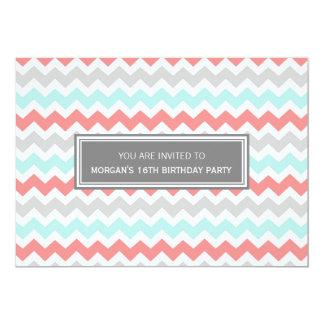 Coral Grey Chevron 16th Birthday Party Invitation
