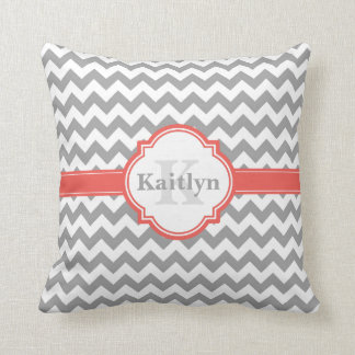 Coral Grey Chevron Pattern & Moroccan Quatrefoil Cushion