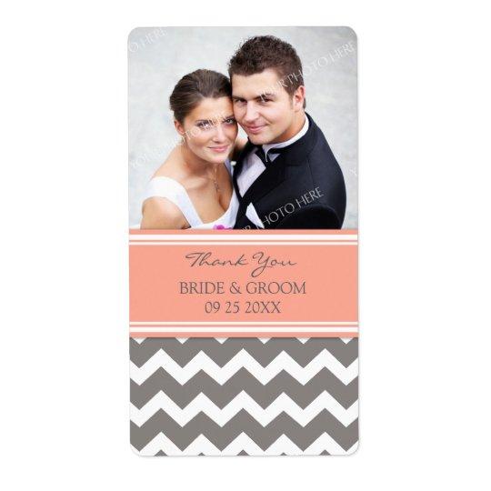 Coral Grey Chevron Photo Wedding Labels