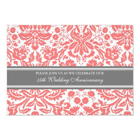 Coral Grey Damask 15th Anniversary Invitation