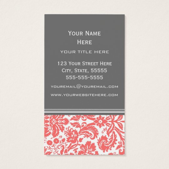 Coral Grey Damask Floral Business Cards