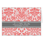 Coral Grey Damask Save the Date Announcement Greeting Card