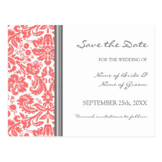 Coral Grey Damask Save the Date Wedding Postcard