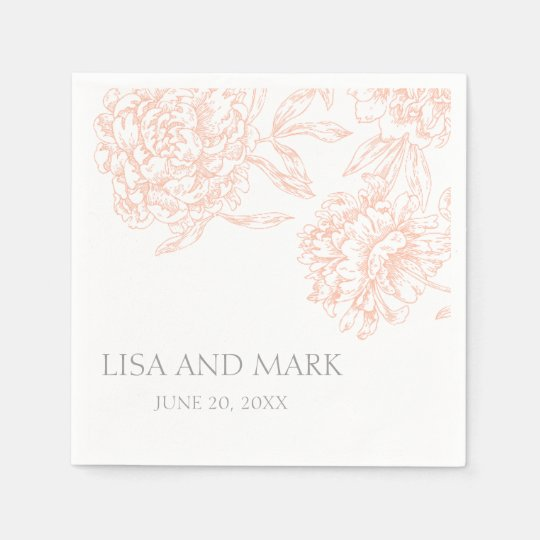 Coral Grey Floral Vintage Wedding Paper Napkins