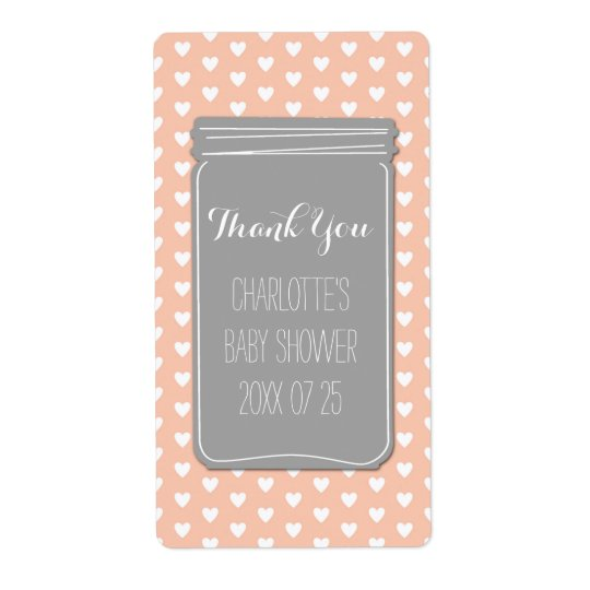 Coral Grey Hearts Mason Jar Baby Shower Favour Shipping Label