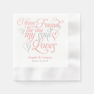Coral Grey My Soul Loves Heart Wedding Paper Napkins