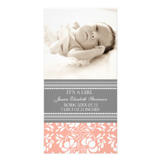 Coral Grey Template New Baby Birth Announcement