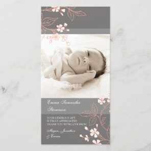 Coral Grey Thank You Baby Shower Photo Cards