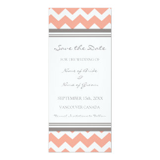 Coral Grey Wedding Save the Date Card
