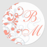 Coral, Grey, White Abstract Floral Envelope Seal Round Sticker