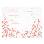Coral grey white abstract floral wedding program flyer