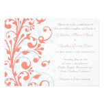 Coral, Grey, & White Floral Wedding Invitation