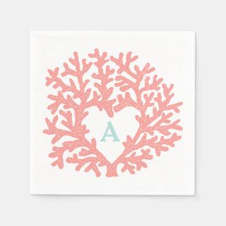 Coral Heart Aqua Beach Wedding Custom Paper Serviettes