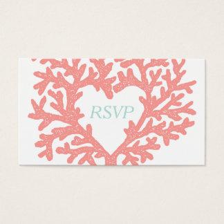 Coral Heart Aqua Beach Wedding RSVP Response Business Card