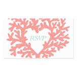 Coral Heart Aqua Beach Wedding RSVP Response Pack Of Standard Business Cards