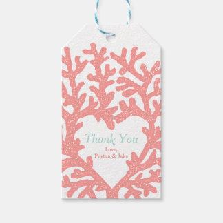 Coral Heart Aqua Beach Wedding Thank You Gift Tags