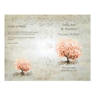 Coral Heart Leaf Tree Wedding Programs Flyer