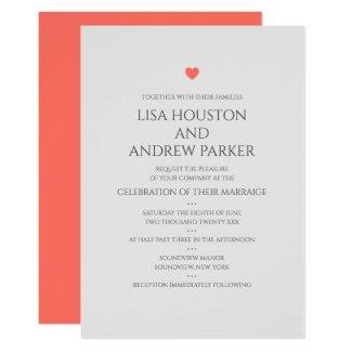 Coral Heart Wedding Invitation